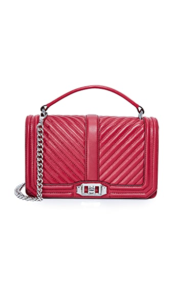 Rebecca Minkoff Chevron Quilted Cross Body Bag - Beet