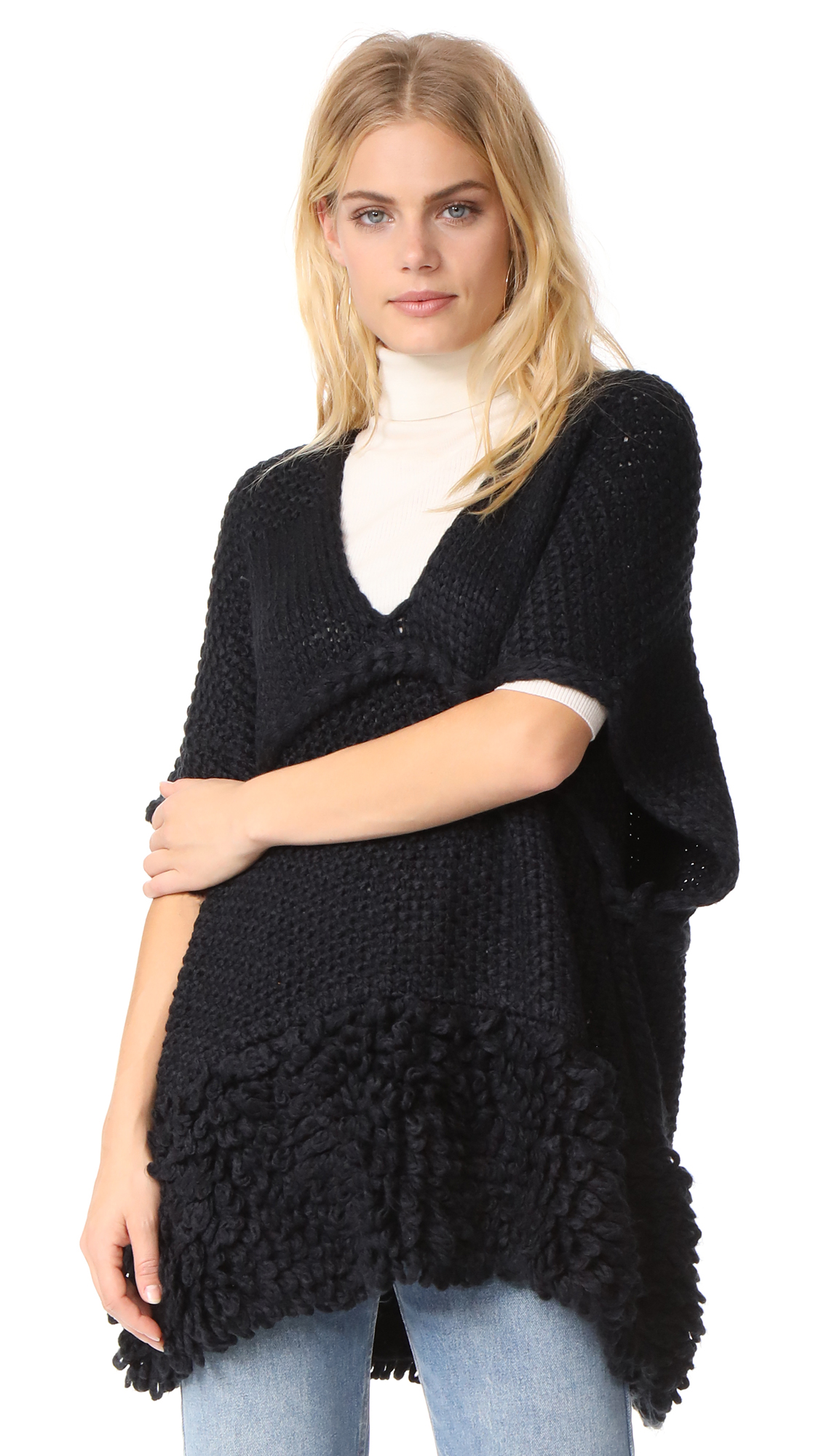 Rebecca Minkoff Knit Poncho with Loops - Black