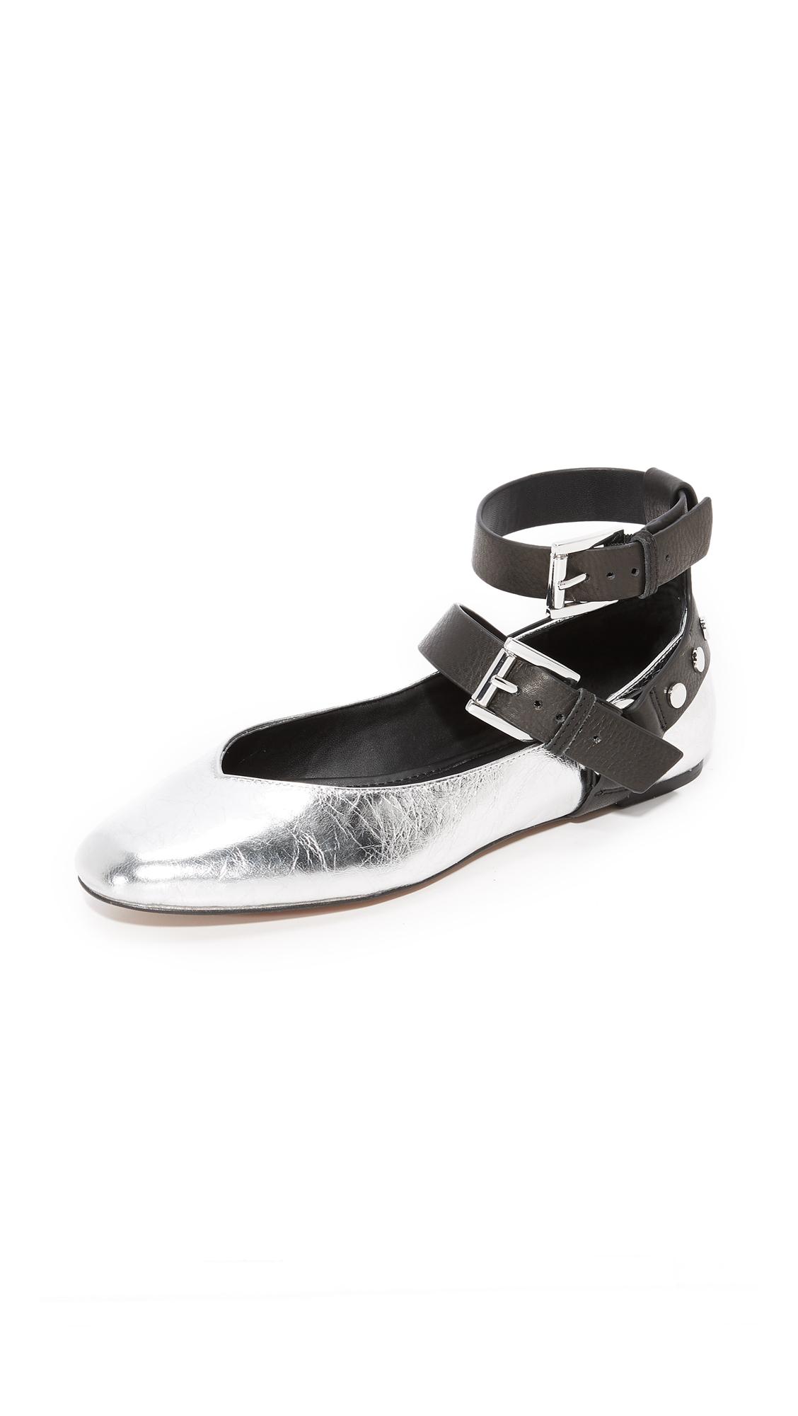 Rebecca Minkoff Vivica Harness Ballet Flats - Silver/Black