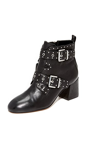 Rebecca Minkoff Logan Studded Buckle Booties - Black