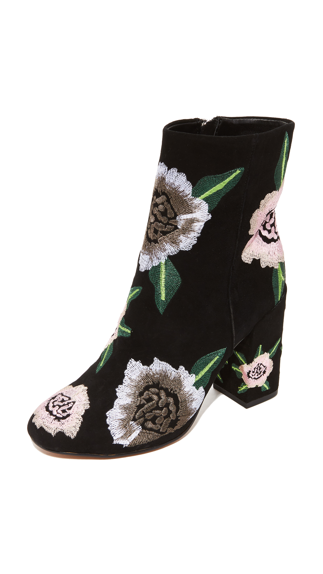 Rebecca Minkoff Bryce Embroidered Booties - Black/Floral