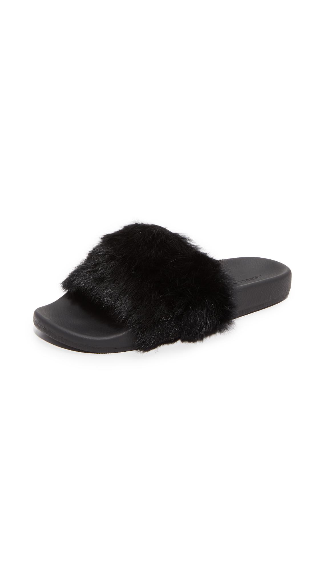 Rebecca Minkoff Sammi Fur Slides - Black