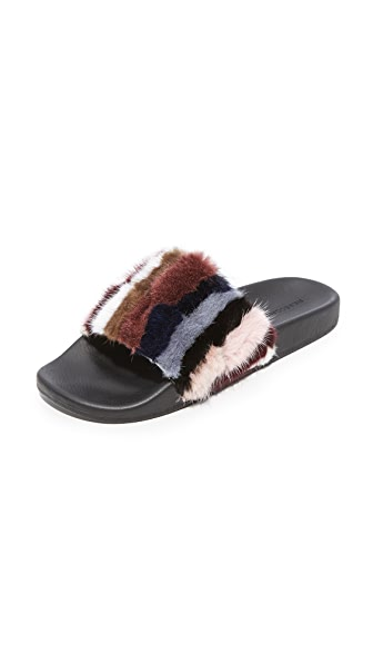 Rebecca Minkoff Sammi Fur Slides In Multicolor
