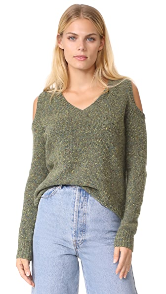 Rebecca Minkoff Page V Neck Sweater - Olive Multi