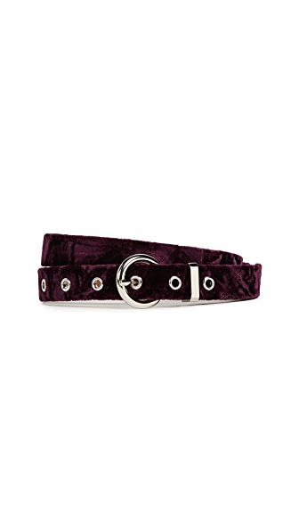 Rebecca Minkoff Madeline Velvet Belt In Burgundy