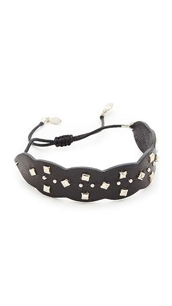 Rebecca Minkoff Studded Guitar Strap Bracelet In Black/Silver