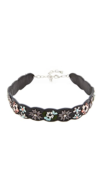 Rebecca Minkoff Floral Embroidery Guitar Strap Choker Necklace