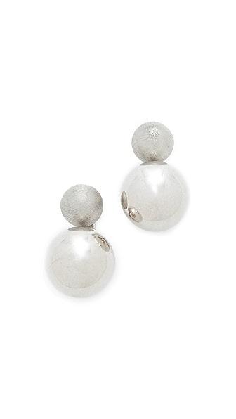 Rebecca Minkoff Double Sphere Stud Earrings - Silver