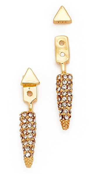 Rebecca Minkoff Pave Spike Earrings - Gold/Diamond
