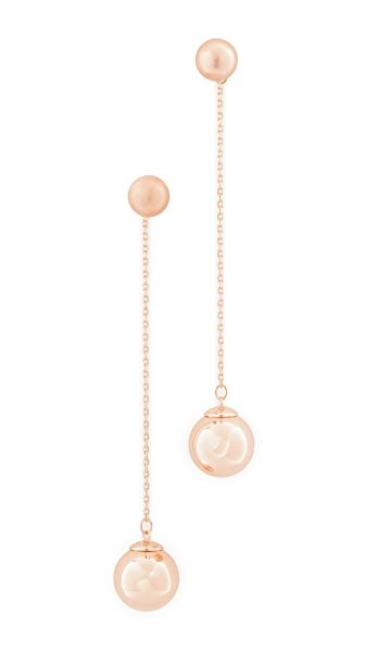 Rebecca Minkoff Sphere Front Back Earrings - Rose Gold
