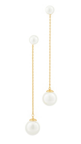 Rebecca Minkoff Sphere Front Back Earrings In Pearl