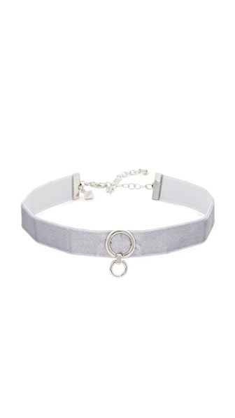Rebecca Minkoff Velvet Ring Choker Necklace In New Grey/Silver