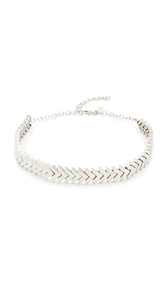 Rebecca Minkoff Chevron Stretch Choker Necklace - Silver