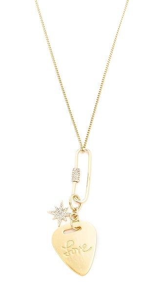 Rebecca Minkoff Love Guitar Pick Pendant Necklace - Gold