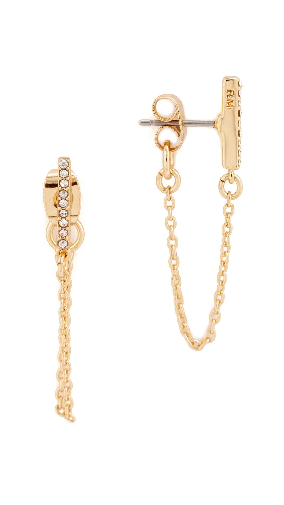 Rebecca Minkoff Pave Bar Chain Earrings