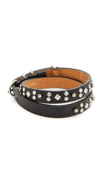 Rebecca Minkoff Studded Double Wrap Bracelet - Black/Silver