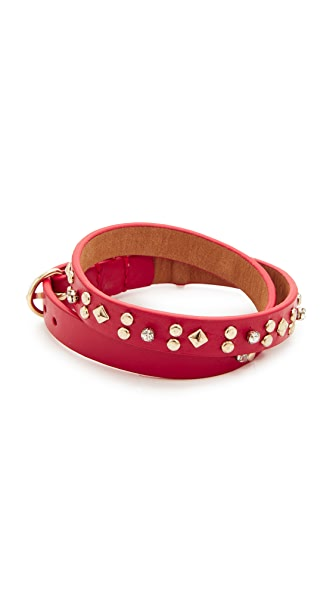 Rebecca Minkoff Studded Double Wrap Bracelet In Red/Gold