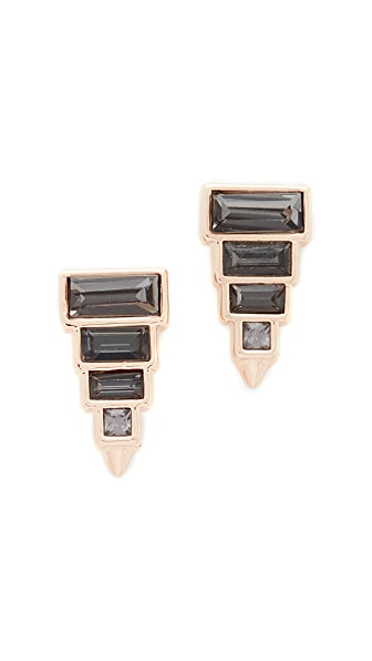 Rebecca Minkoff Stacked Baguette Earrings In Rose Gold/Black Diamond
