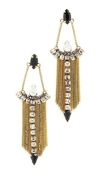 Rebecca Minkoff Clara Fringe Chandelier Earirngs - Gold/Crystal Multi