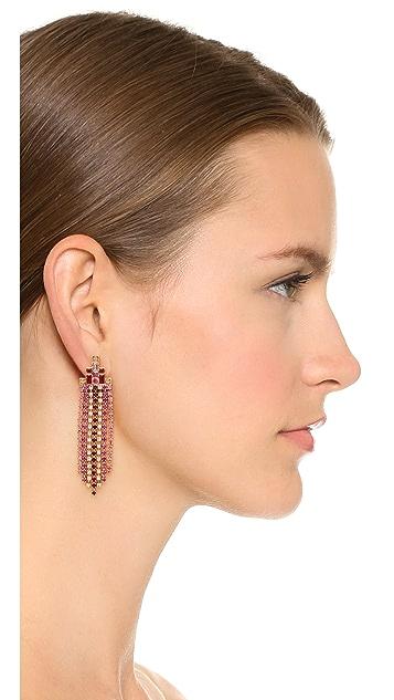 Rebecca Minkoff Baguette Stone Fringe Earrings
