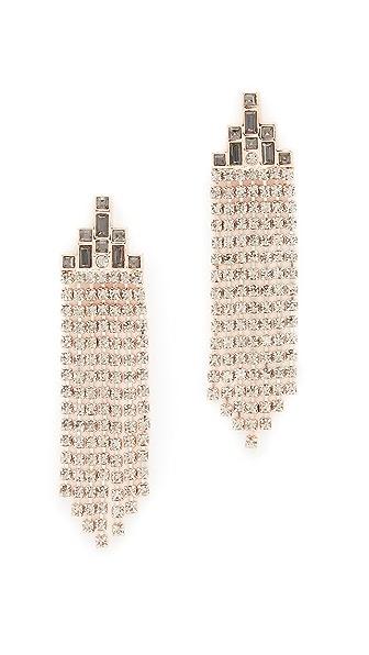 Rebecca Minkoff Baguette Stone Fringe Earrings In Rose Gold/Black Diamond