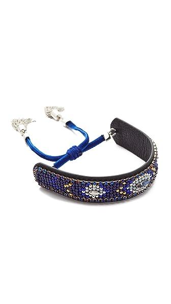 Rebecca Minkoff Sparkler Seed Bead Bracelet In Navy