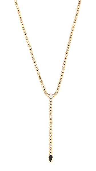 Rebecca Minkoff Clara Fringe Y Necklace - Gold/Crystal Multi