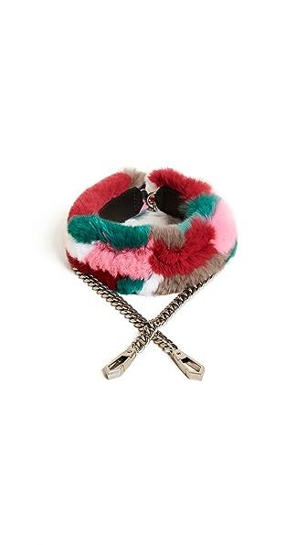 Rebecca Minkoff Fur Cross Body Strap with Chain In Bright Multi