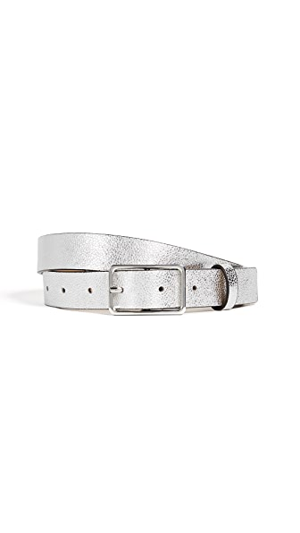 Rebecca Minkoff Elenora Crackle Belt In Silver/Silver