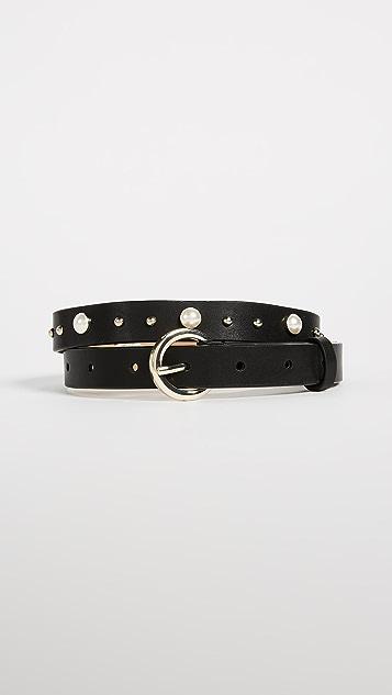 Rebecca Minkoff Coco Smooth Imitation Pearl & Stud Belt
