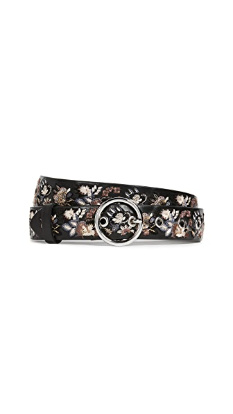 Rebecca Minkoff Lea Floral Embroidery Belt In Black/Nickel