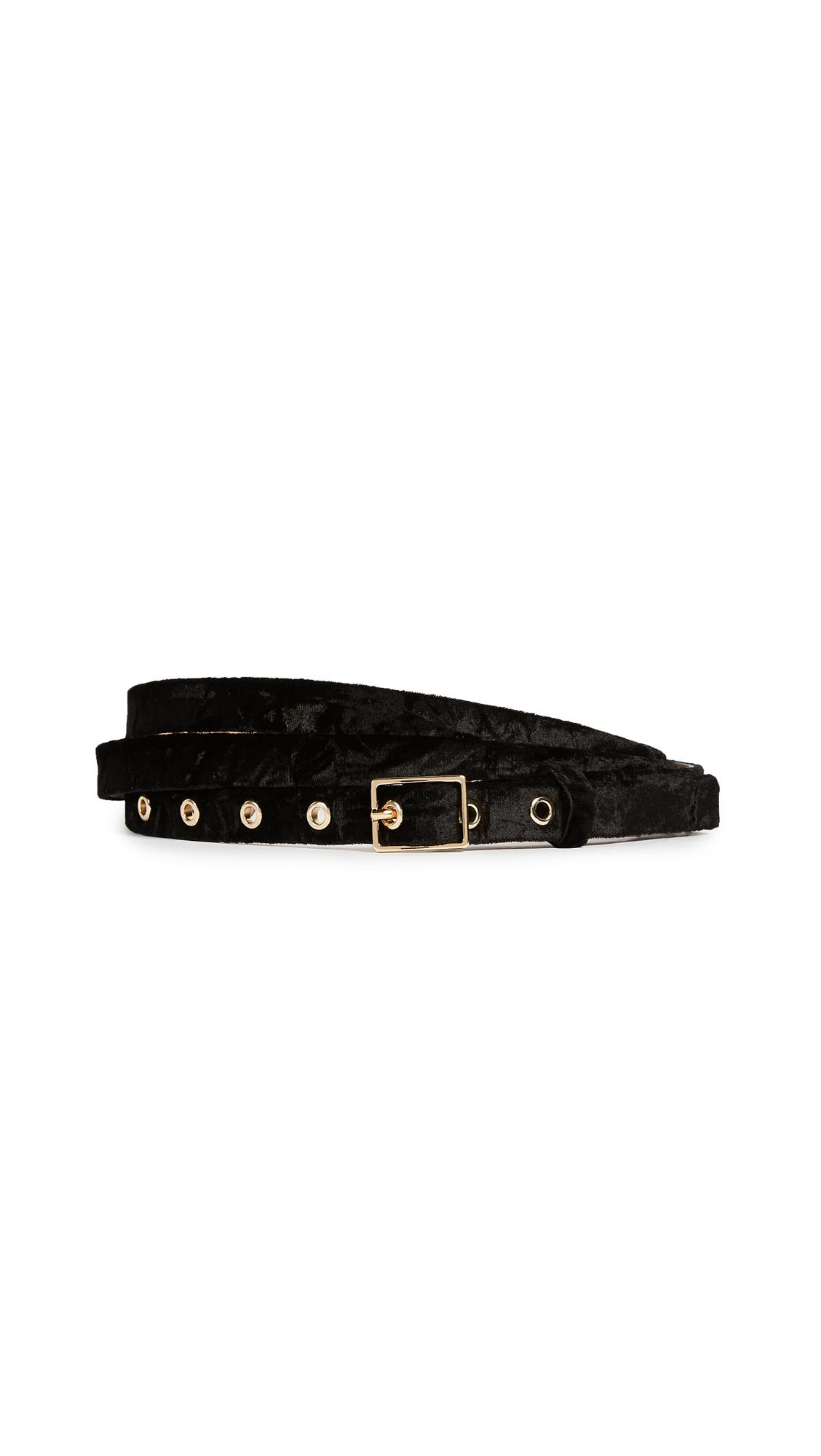 Rebecca Minkoff Liv Velvet Double Wrap Belt - Black/Nickel