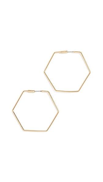 Rebecca Minkoff Hexagonal Hoop Earrings In Gold