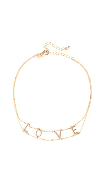 "Rebecca Minkoff ""Love"" Choker Necklace In Gold"