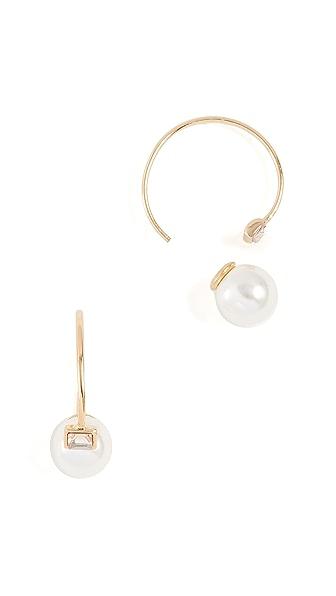 Rebecca Minkoff Baby Imitation Pearl & Stone Threader Huggie Earrings In Gold/Pearl
