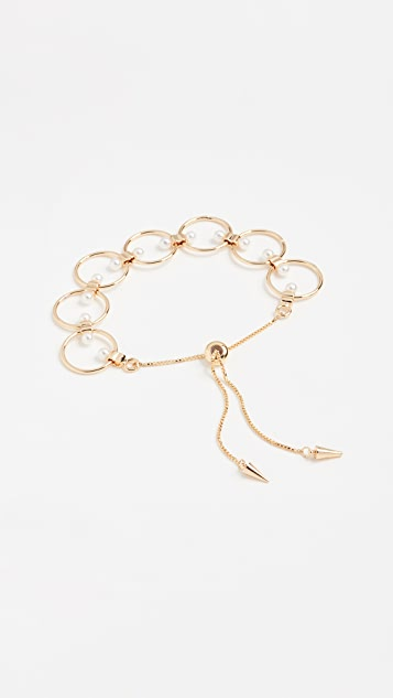 Rebecca Minkoff Encircled Floating Pearls Pulley Bracelet