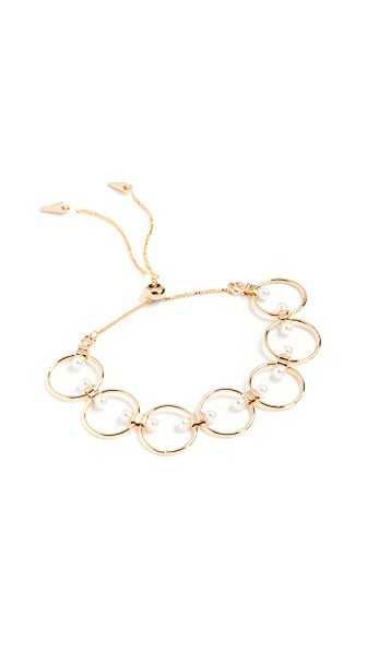 Rebecca Minkoff Encircled Floating Pearls Pulley Bracelet In Gold/Pearl
