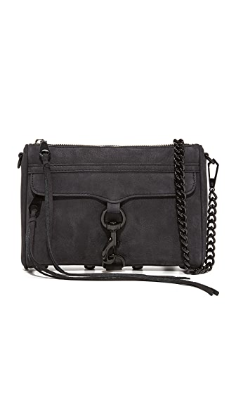 Rebecca Minkoff Nubuck Mini MAC Cross Body Bag - Black