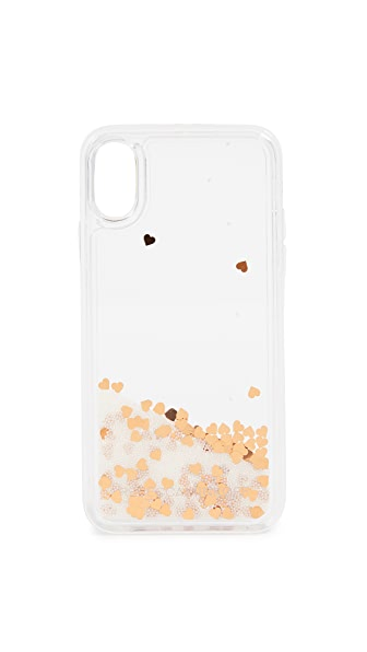 Rebecca Minkoff Confetti Hearts Glitterfall iPhone X Case In Mini Pearls/Confetti Hearts