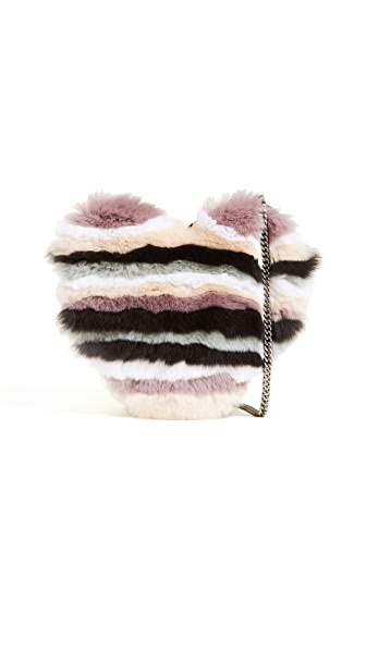 Rebecca Minkoff Heart Fur Cross Body Bag In Natural Multi Fur