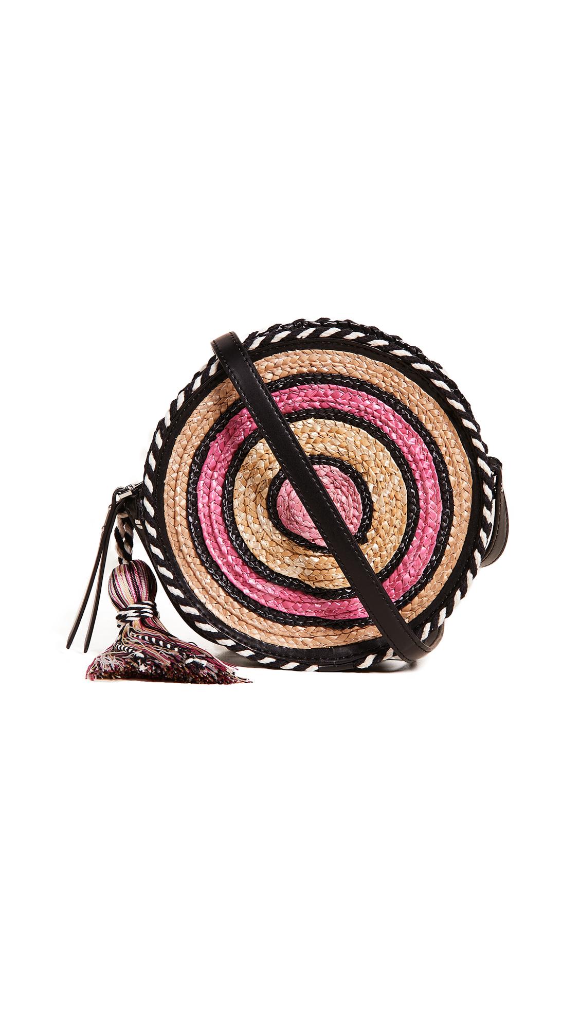 Rebecca Minkoff Straw Circle Cross Body Bag In Pink Multi
