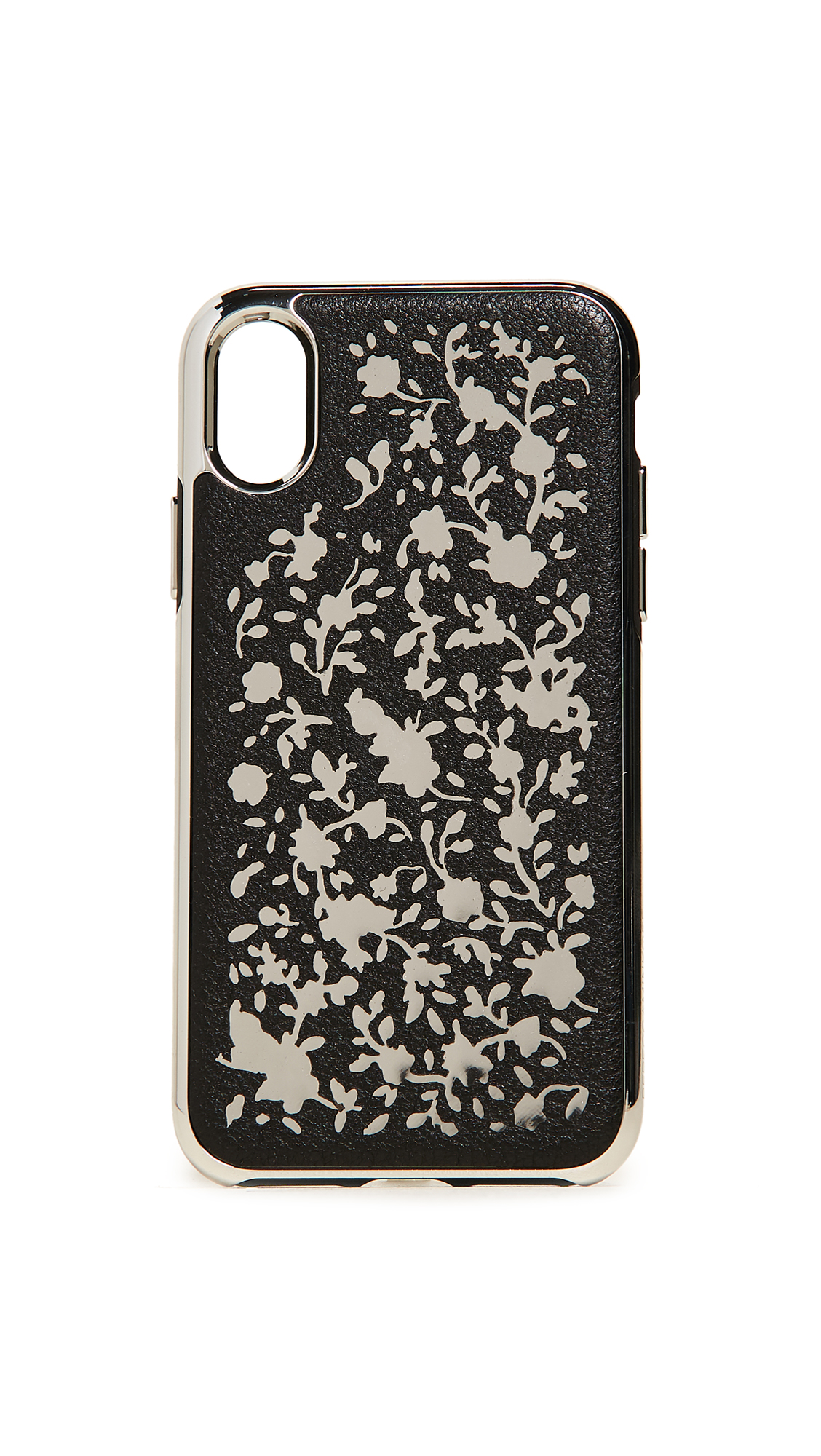 Rebecca Minkoff Ditsy Floral Laser Cut iPhone X Case - Black/Silver