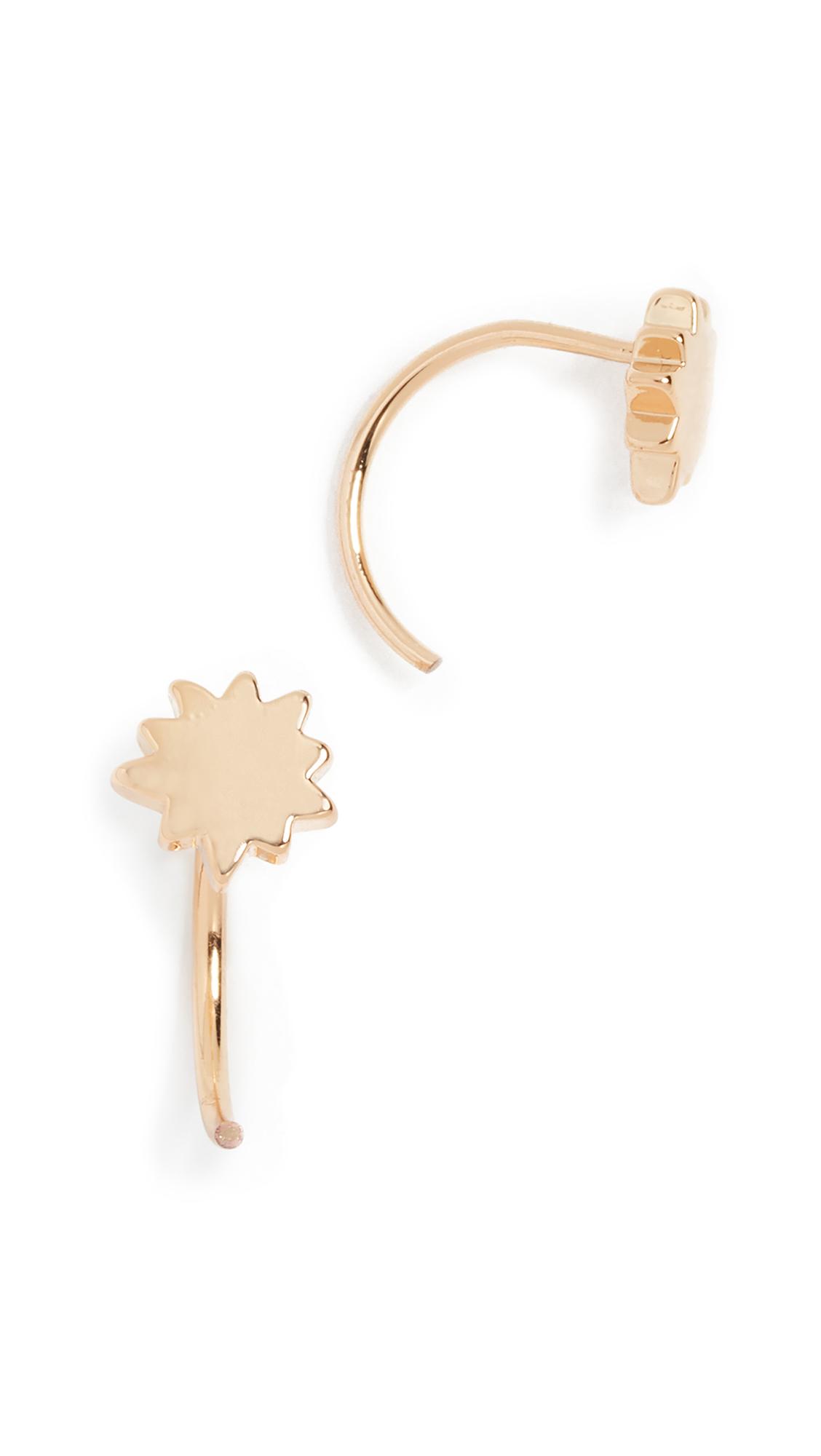 Rebecca Minkoff Pow Threader Hoop Earrings In Gold