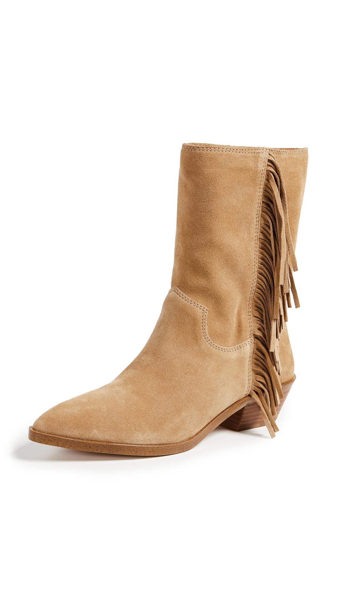 Rebecca Minkoff Krissa Fringe Western Boots - Beige