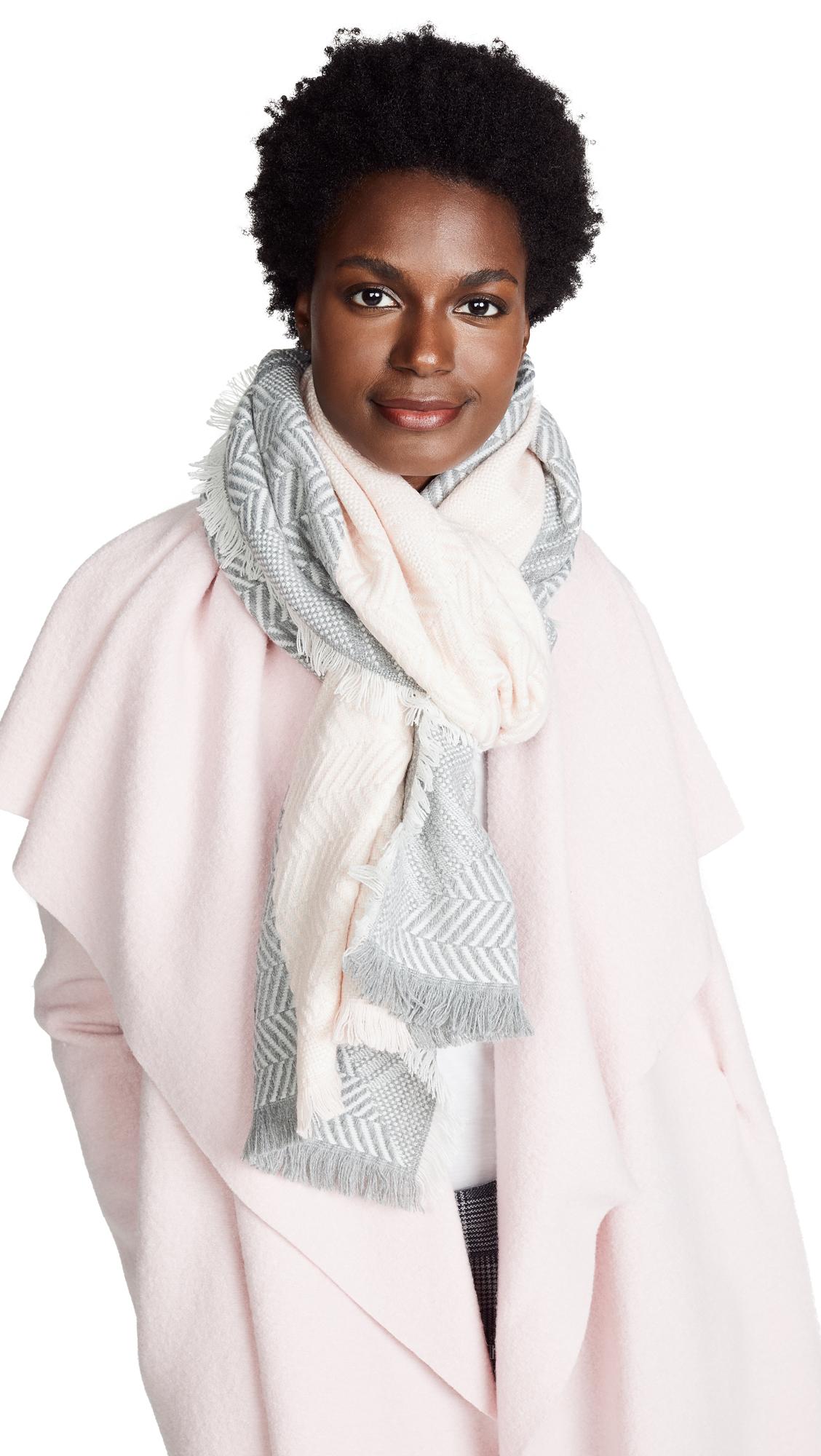 Chevron Yarn Dye Oblong Scarf, Pink