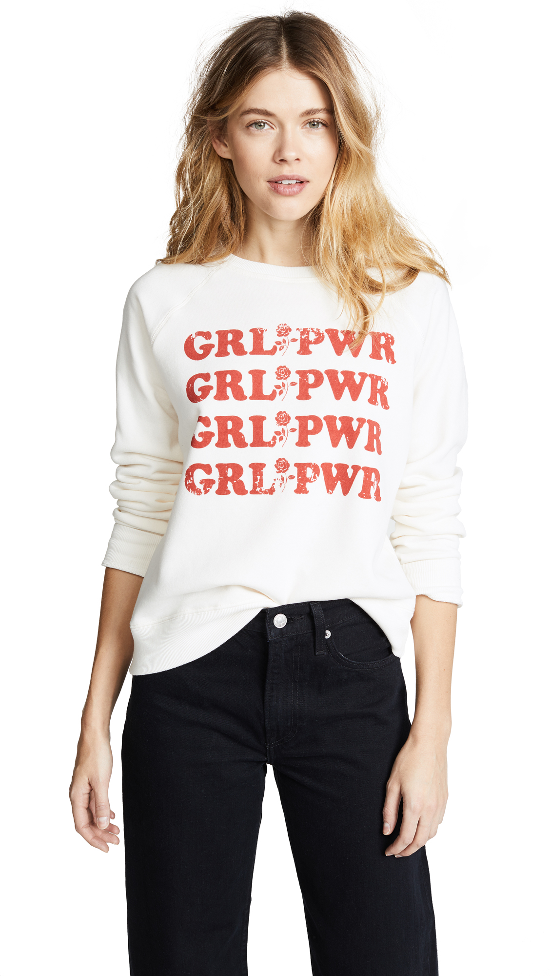 Rebecca Minkoff Girl Power Sweatshirt In Cream/Terracotta