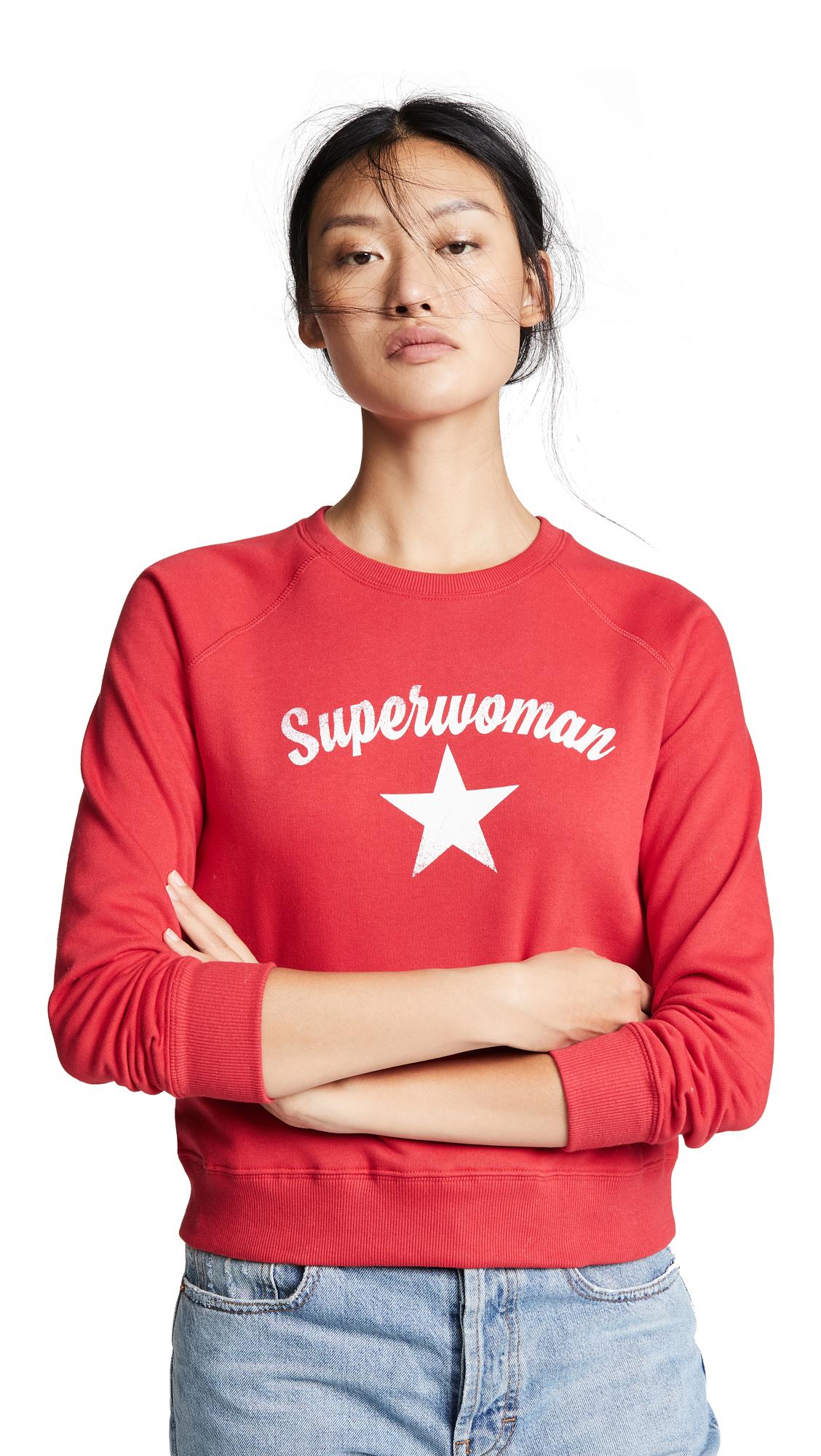 Rebecca Minkoff Superwoman Sweatshirt In Red/Cream