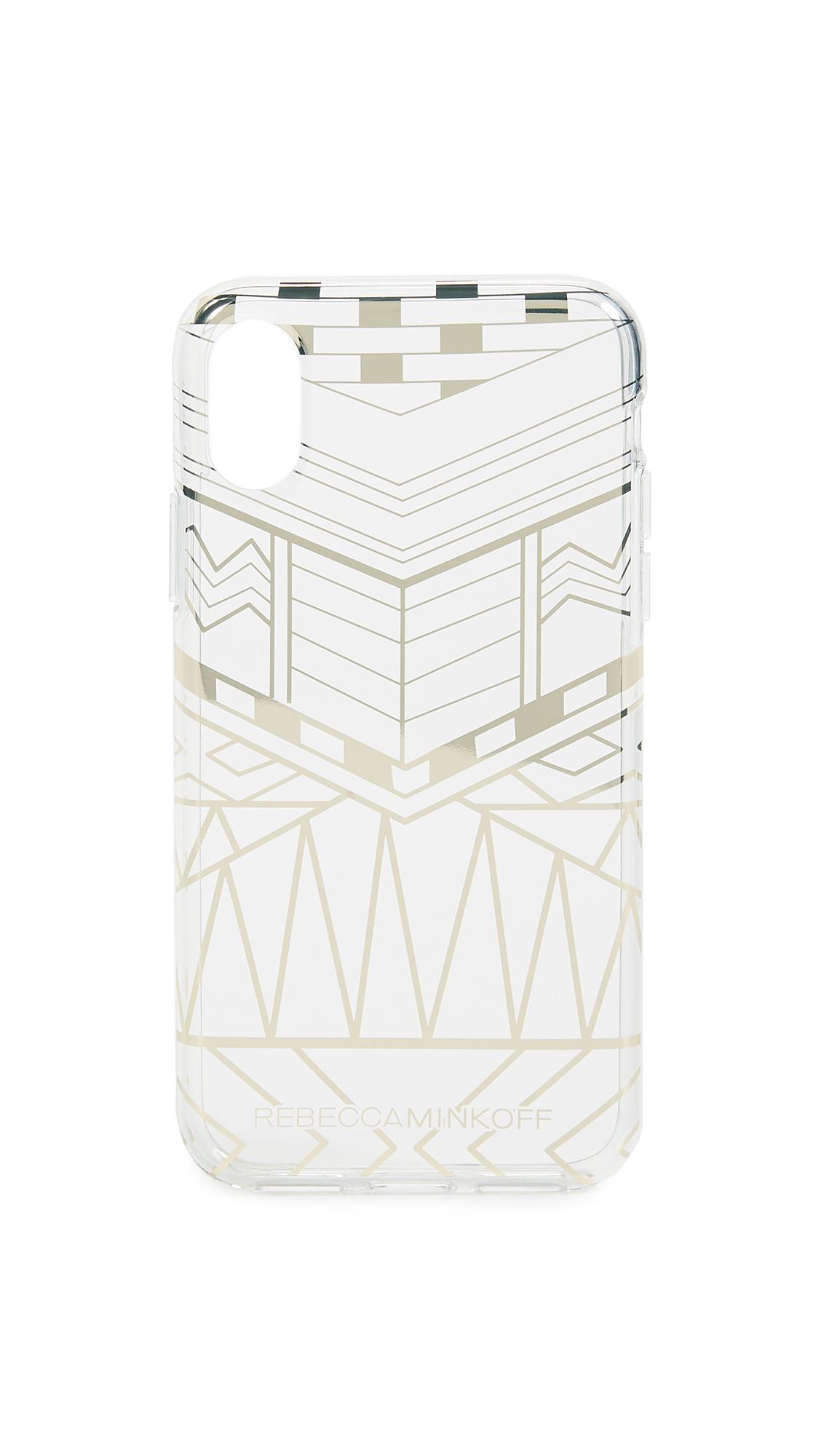Rebecca Minkoff Geo Print iPhone X Case - Clear/Gold