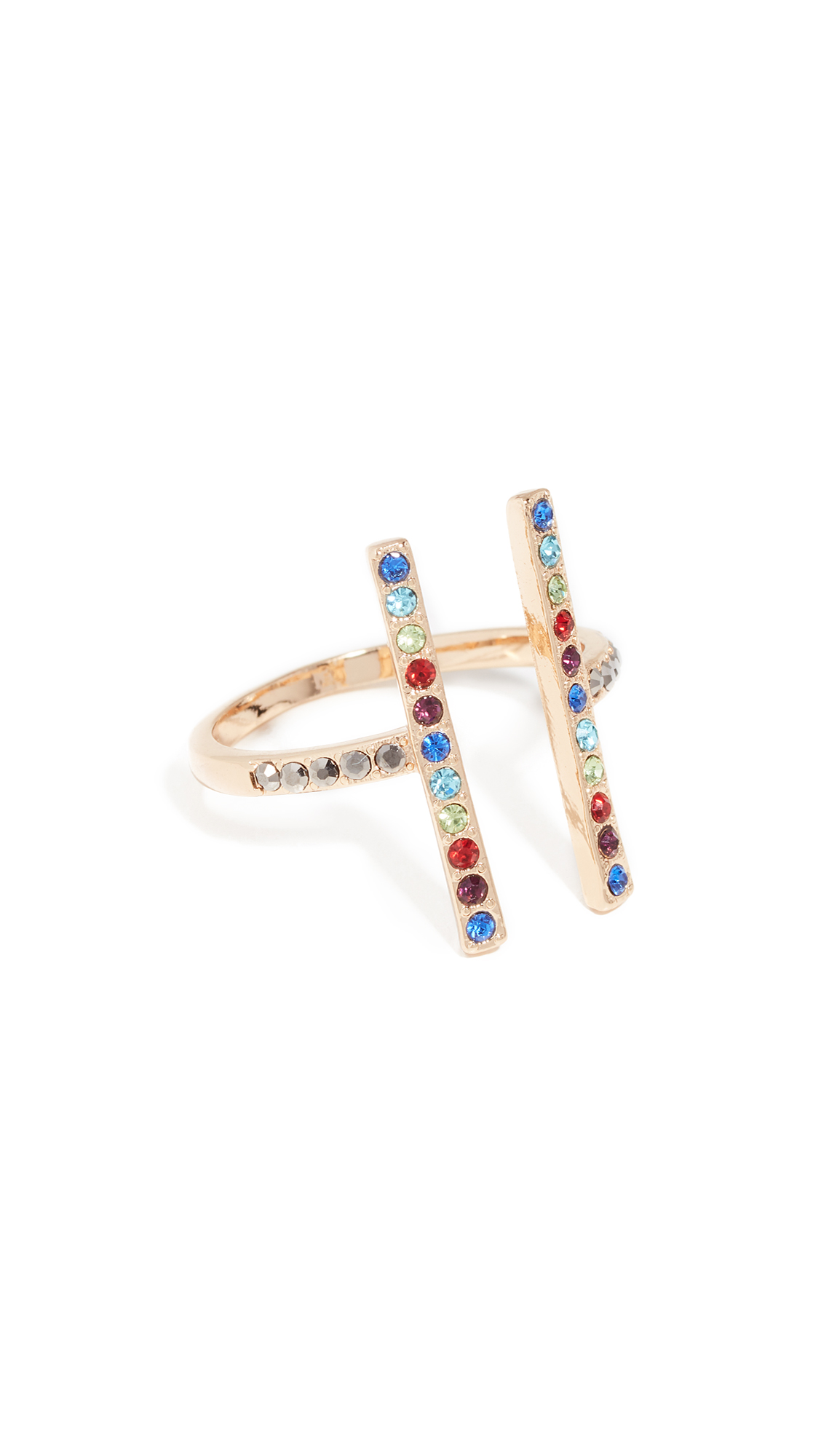 Parallel Lines Ring in Gold/Multi