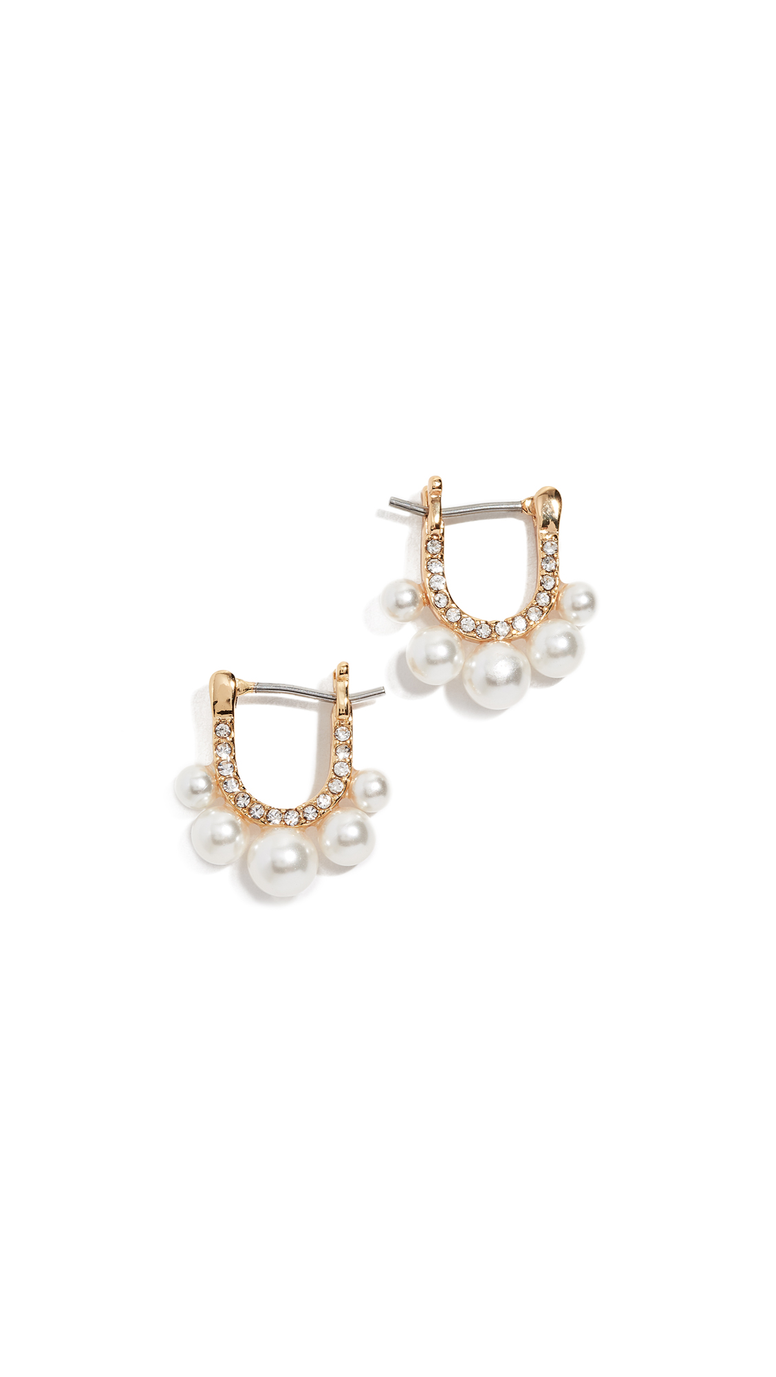 Rebecca Minkoff Sophia Five Imitation Pearl Huggie Earrings In Gold